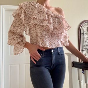 ZARA Pink Off The Shoulder Ruffle Blouse Top M